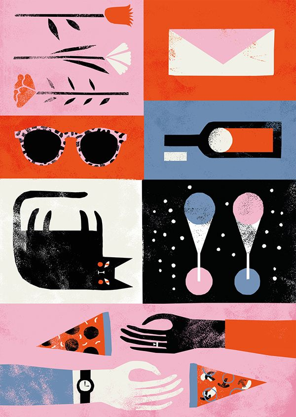 by Nanna Prieler, illustration, print, texture, pizza, cat, sunglasses, collection, composition, colour, editorial