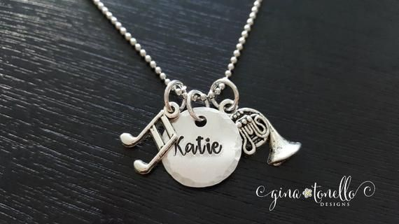 Musical Instrument Necklace, Personalized Marching Band Geek Jewelry, Violin, Flute, Trumpet, Clarinet, Sax, Drum Set
