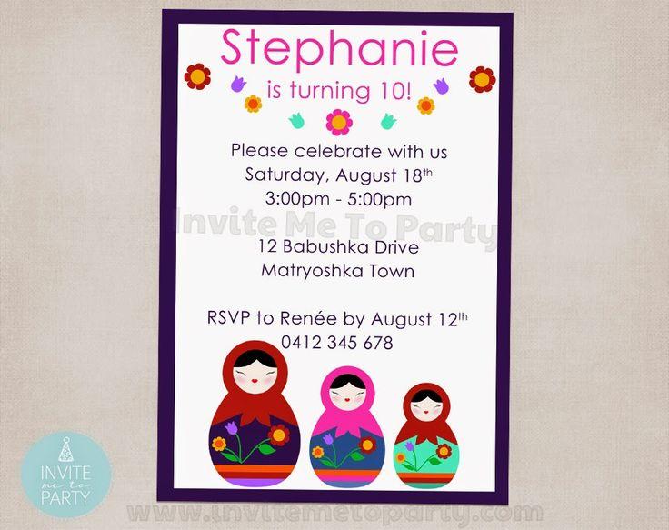 Babushka Party Invitation  Invite Me To Party: Babushka / Matryoshka Doll / Russian Doll Birthday Party
