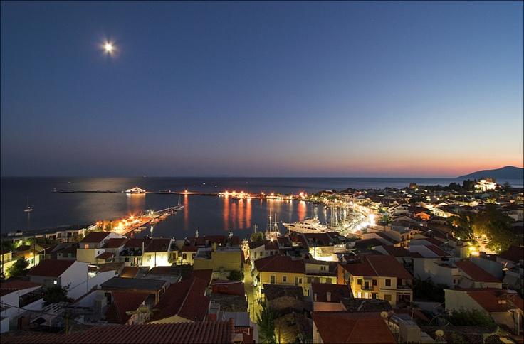 Sunset over Pythagorion, isle of Samos, Greece.