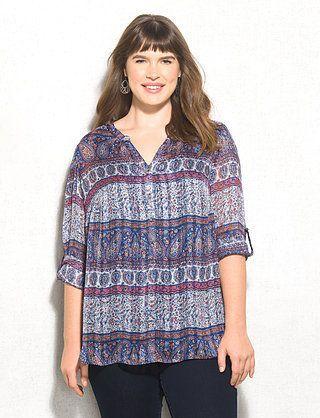 Plus Size Paisley Striped Tunic