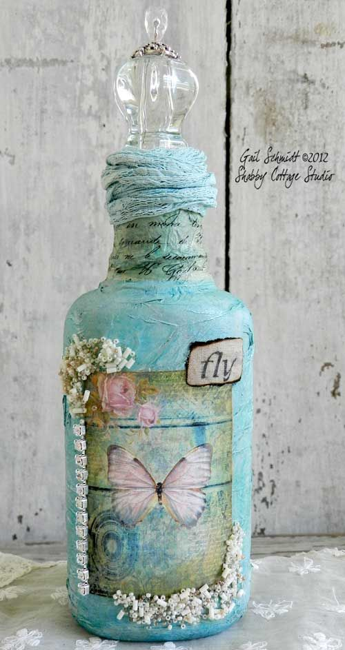 Decorate a bottle vintage style with lace scrapbook - How to decorate old bottles ...