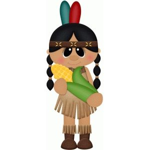 Silhouette Design Store: indian girl holding corn pnc