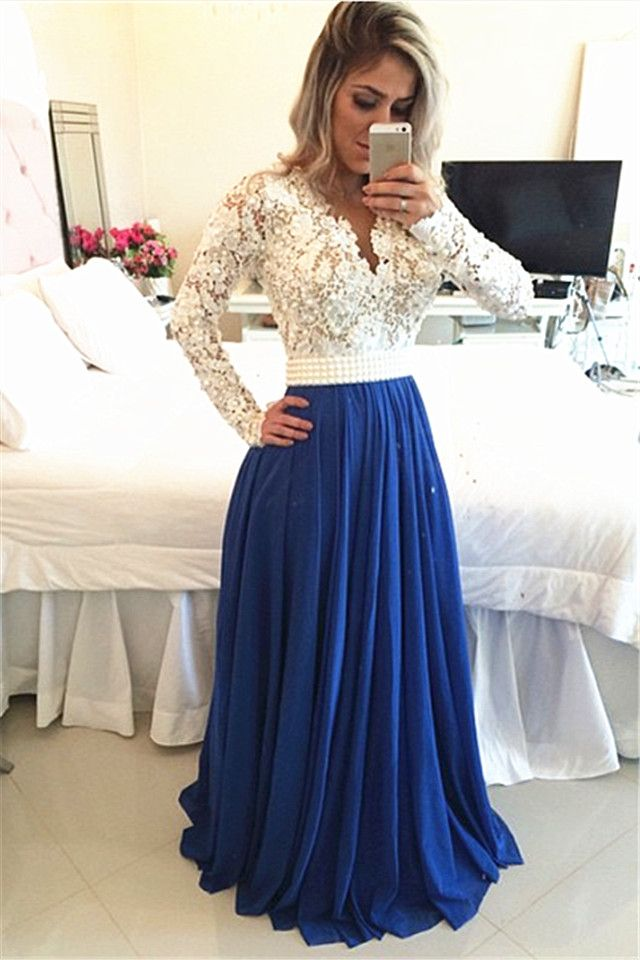 Royal Blue Lace V Neck Popular Evening Dress with Long Sleeve Pearl Belt Long Prom Dresses