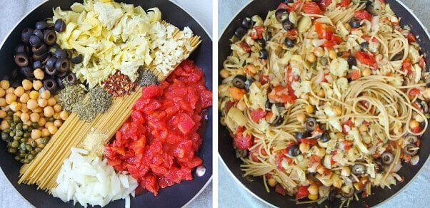 Puttanesca #pasta before and after.  17 #Vegan One-Pot Recipes to Save You From (Washing) All Those Dishes