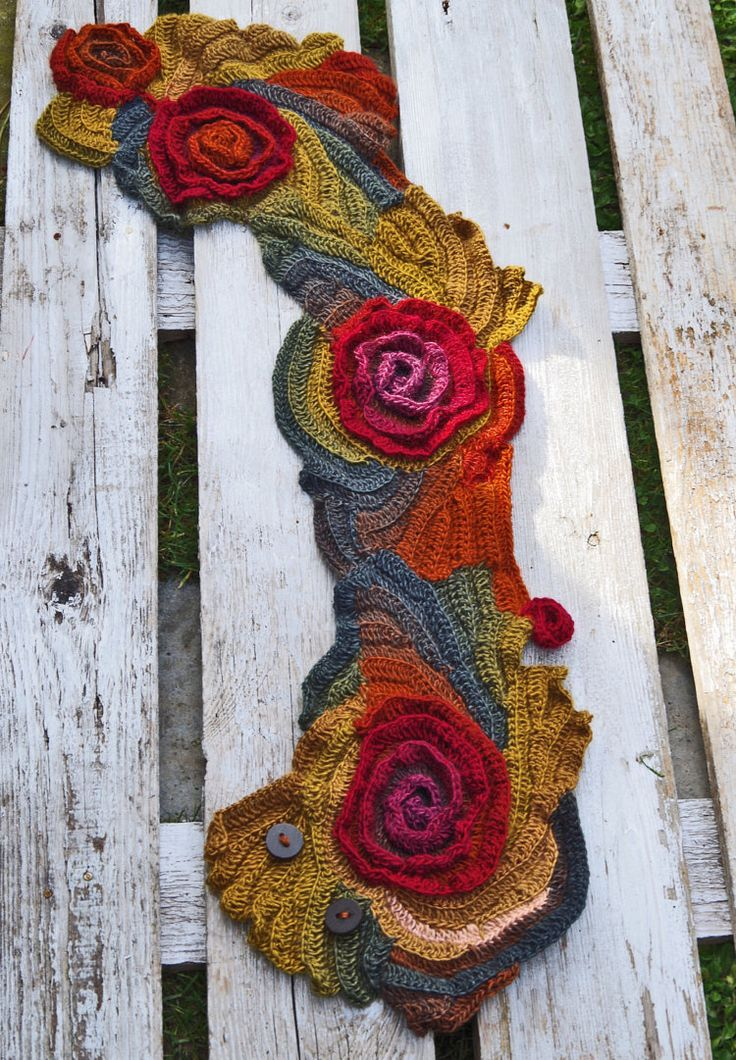Scarf Crochet Rainbow Roses Capelet Button Neck Warmer by Degra2