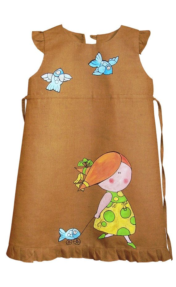 """Brown color linen - painted dress - Hand painted - unit work - size by height 41""""/104 cm for 3-4 year - children summer clothing"""