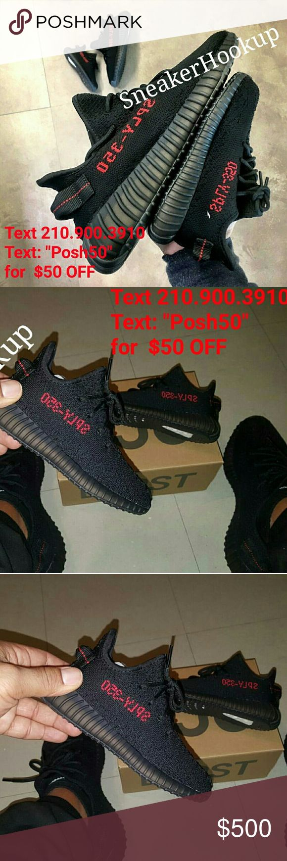 Adidas Yeezy Boost 350 Black /Red ALL SIZES All sizes - contact info in pictures + $50 off Adidas  Shoes Sneakers