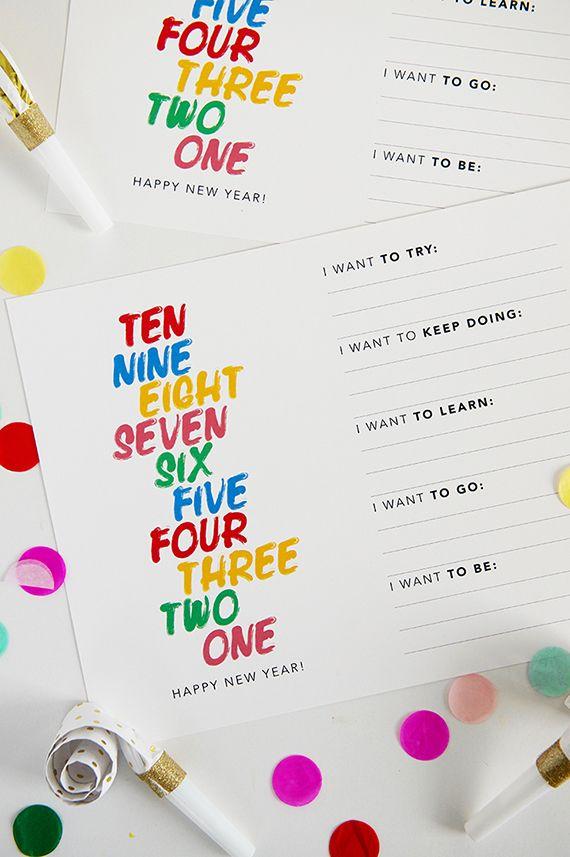 New year resolutions free printable / imprimible propositos año nuevo