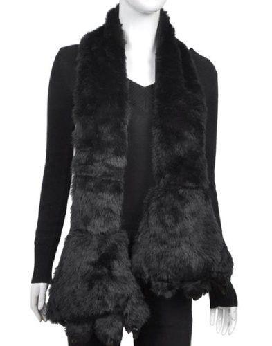 Animal Faux Fur Scarf With Paw, Black