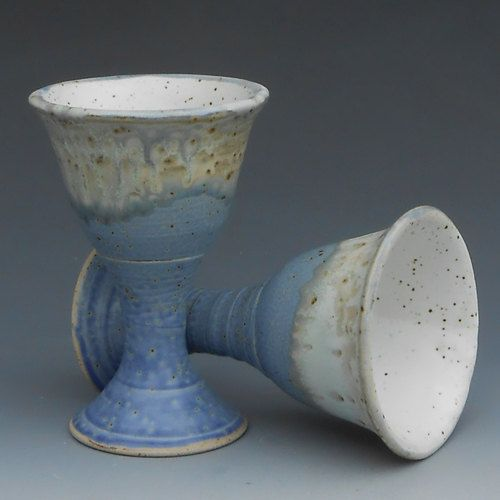 Handmade Pottery Goblet Wineglass Chalice, Blue and Cream