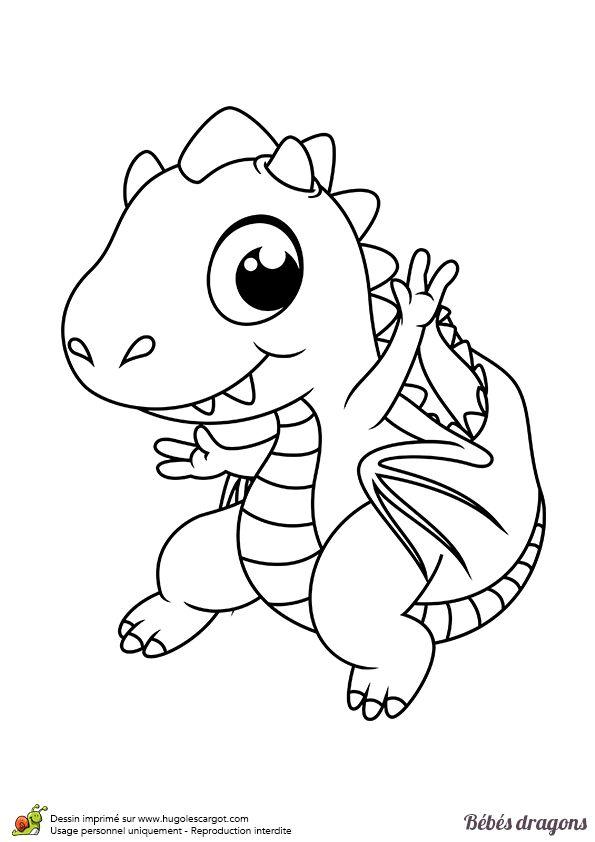 Ce petit dragon te salue depuis sa forêt magique, coloriage pour enfants
