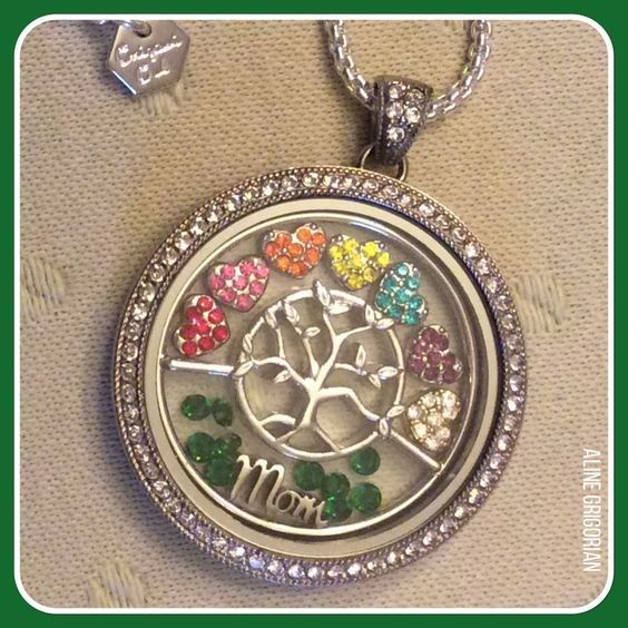 Legacy Locket with Family Tree Window Locket, Mom charm and birthstone charms for all her kids