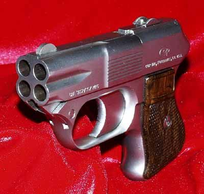 COP 357 Derringer multiple barrel firearm.  This Derringer style 4 shot pistol has 4 chambers which is capable of holding and firing 4 357 magnum rounds. Modeled after the Hillberg Insurgancy Weapon and designed by Rob Hillberg himself