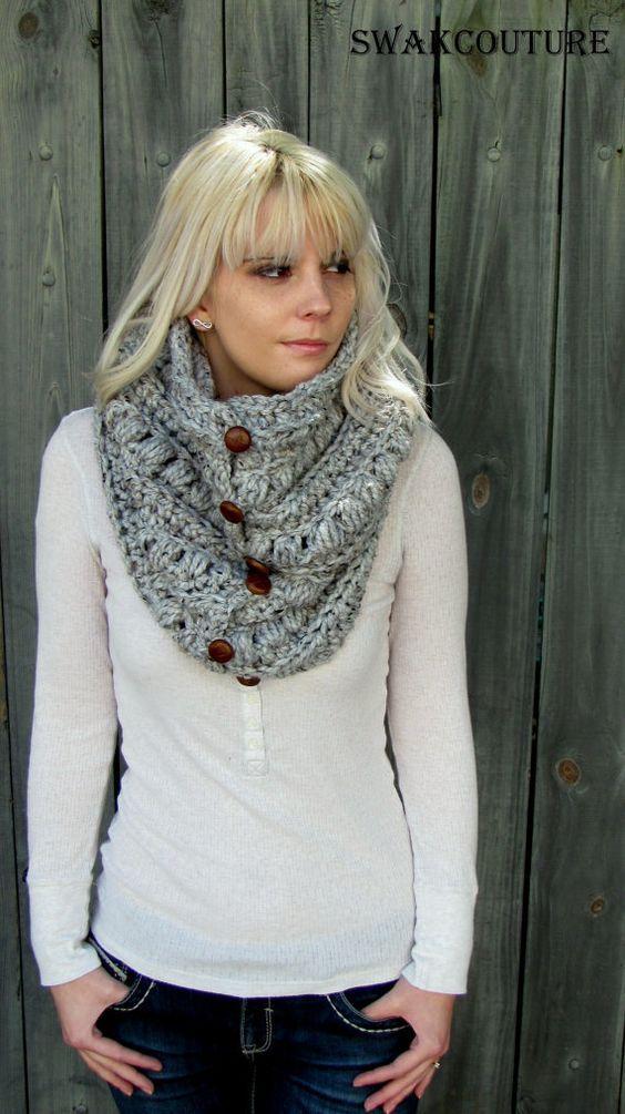 Womens Schal Alpine klobigen Haube Grobstrick Schal Schal Leder Button Wolle Schal Unisex Verkleidung grau Tweed oder wählen Sie Ihre Farbe