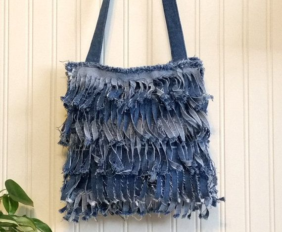 Denim Fringe Purse Handmade from Recycled Blue Jeans Denim, Shabby Chic Single Strap Cross Body Style with Denim Lining and Pocket