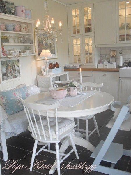 Интерьер в стиле шебби шик в отдельно взятой квартире. Кухня-столовая 32
