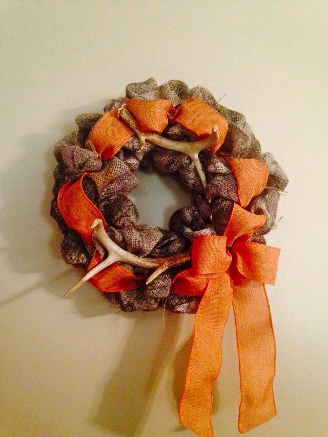 Camo burlap wreath with real deer antlers!