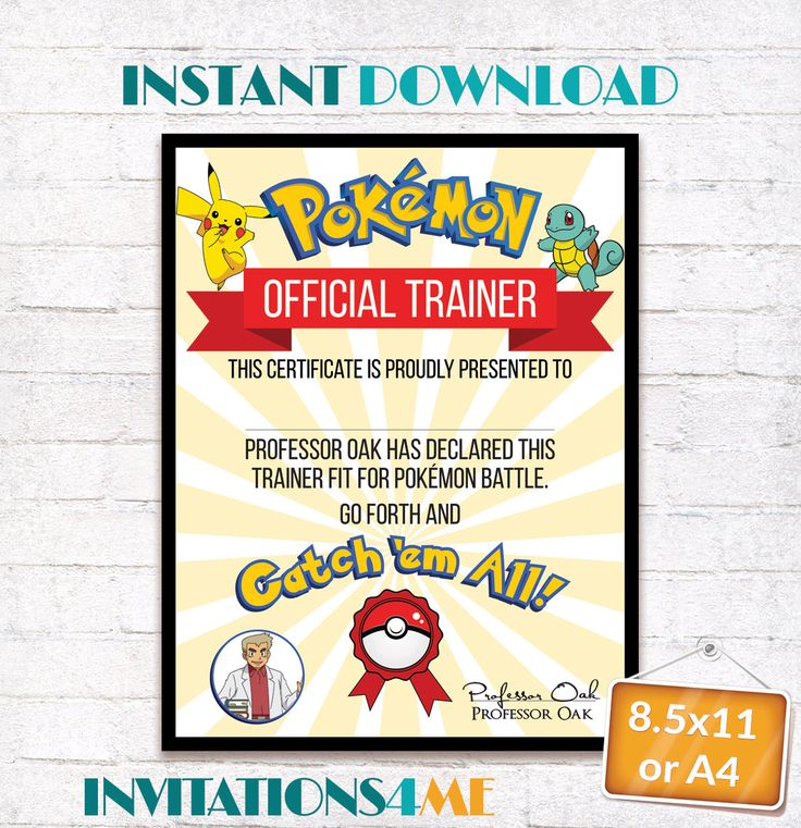 Pokemon Trainer Certificate Pokemon Go Birthday Party Favor Gift Printables Supplies INSTANT DIGITAL DOWNLOAD by INVITATIONS4ME on Etsy
