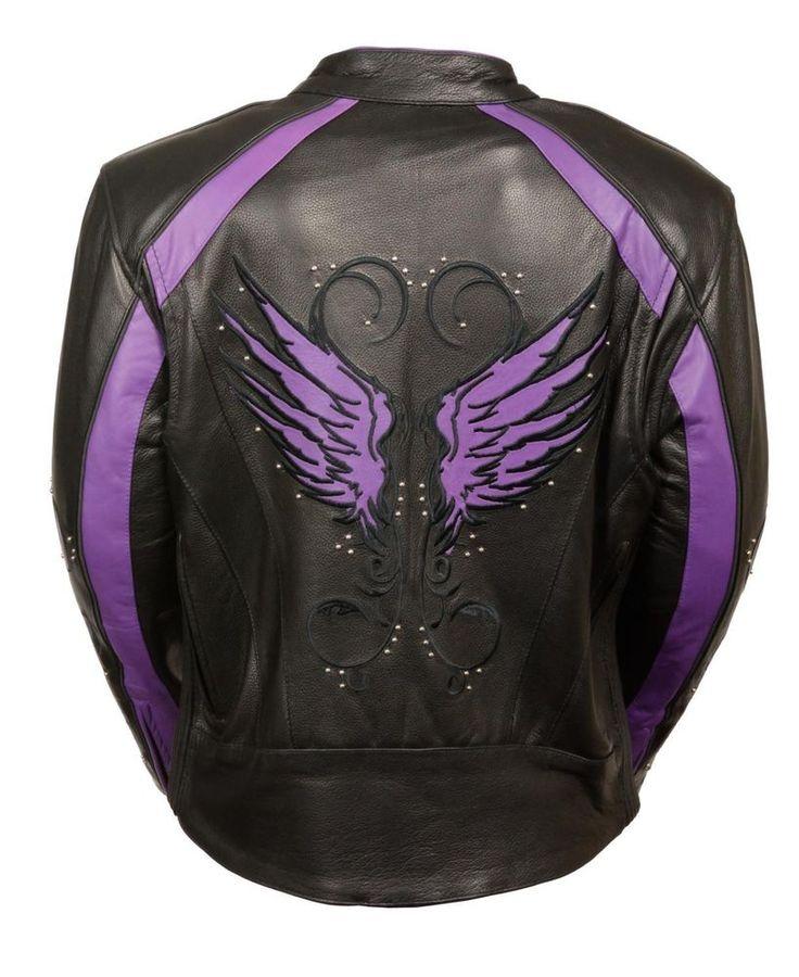 Ladies Black Leather Jacket w Studs, w Stripes, Purple Wings and Gun Pockets #MilwaukeeLeather #Motorcycle