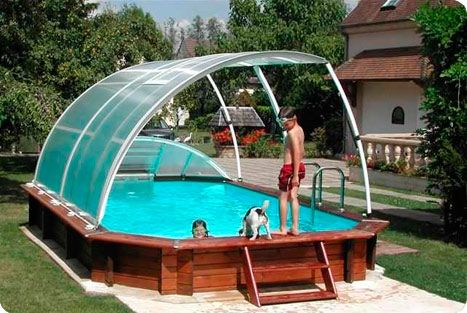 Above ground swimming pool enclosure pool hot tub ideas pinterest above ground swimming - Toit de piscine hors sol ...