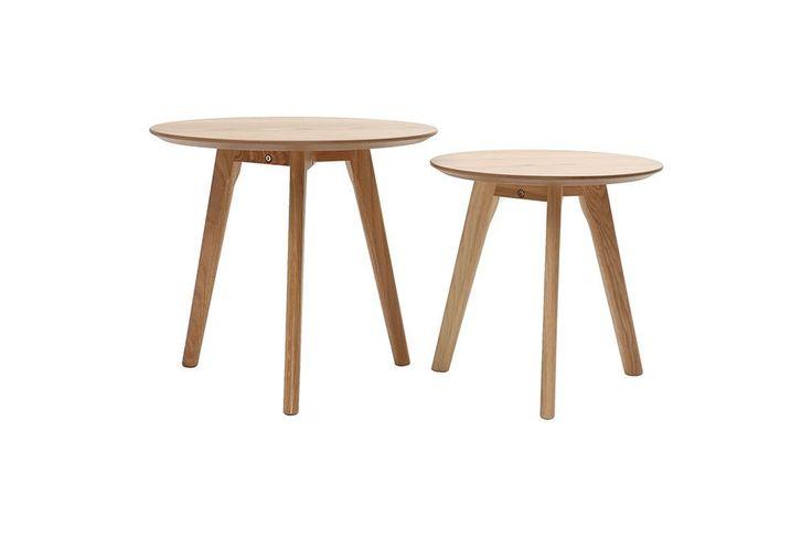 Lot de deux tables d'appoint rondes chêne ORKAD - Ixina