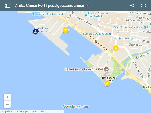 Map of Aruba cruise port for things to do, southern Caribbean cruise