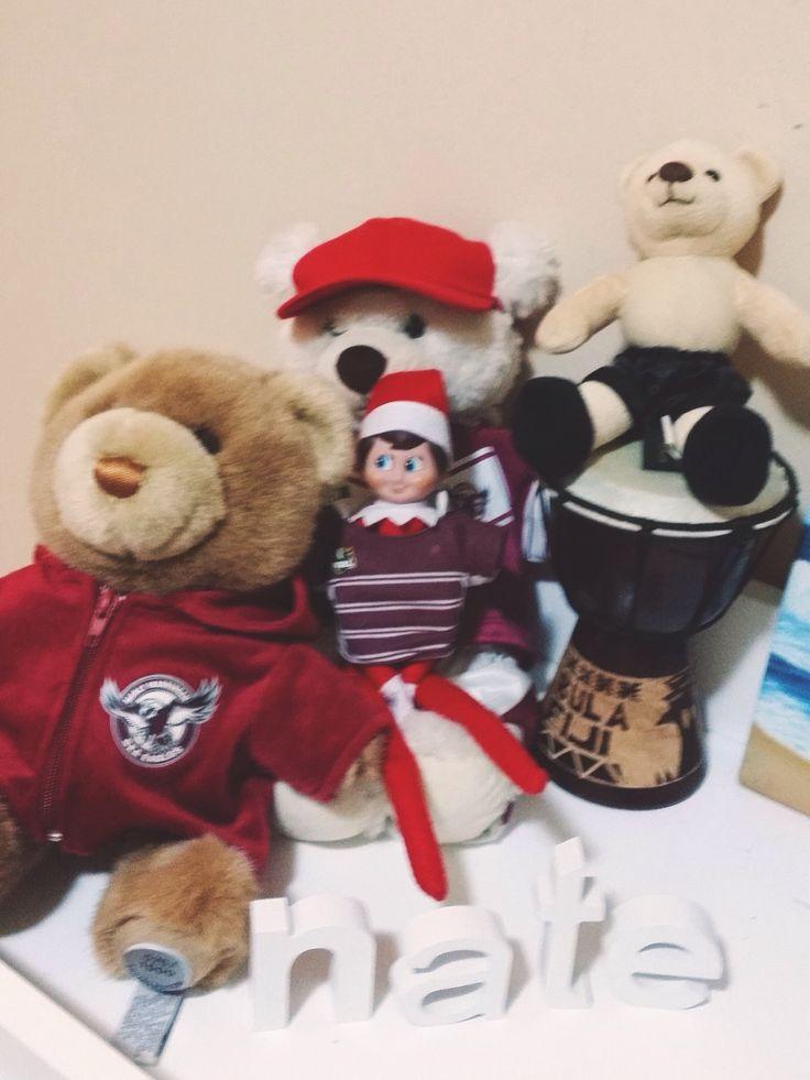 Elf on the shelf. Jingle shelf borrows little Ted's Manly Sea Eagles Jersey