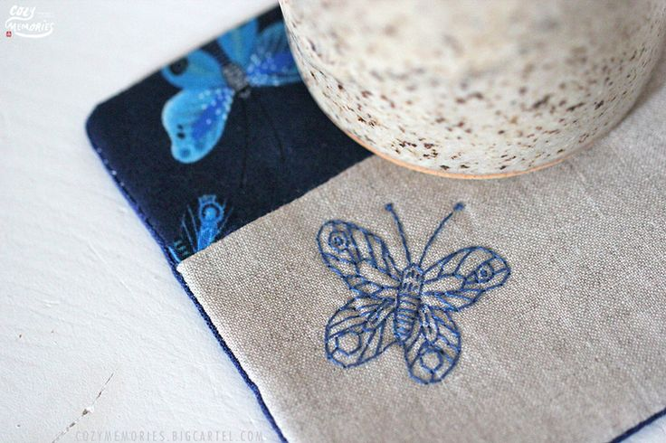 Gift idea : Moody Blues butterfly coasters (organic cotton & linen) - by Cozy Memories