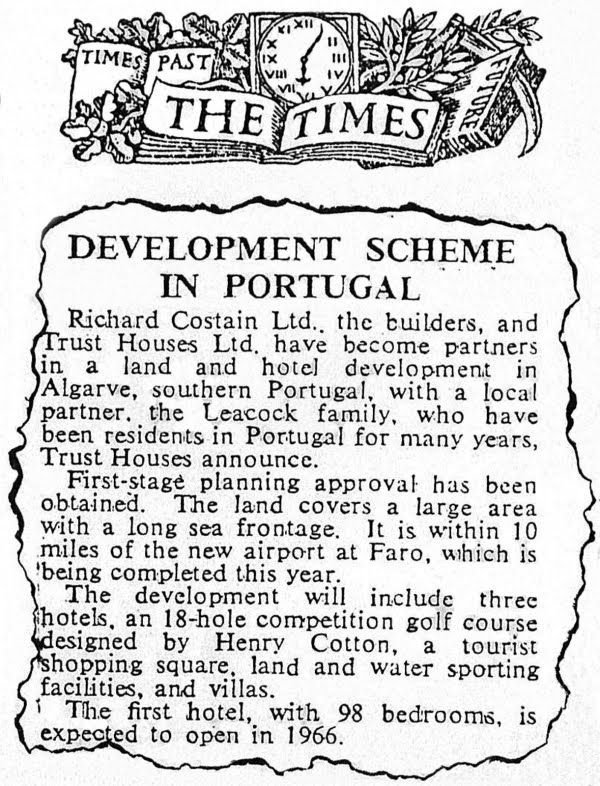 The Times - article on the beginnings of Vale do Lobo (from Turismo do Algarve: Vale do Lobo)