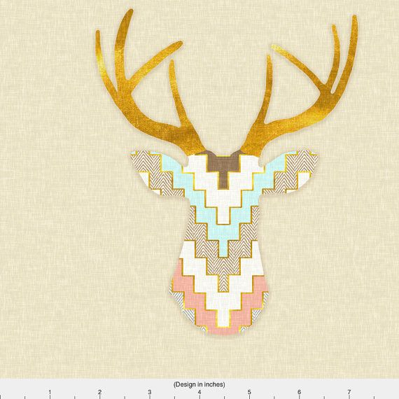 Southwestern Fabric Telluride Deer In Aqua And Coral By