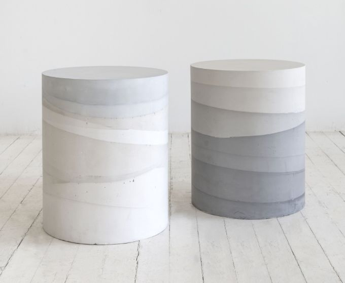 Layered cement stools.