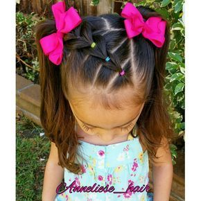 Little Miss Anneliese wanted pigtails today so ofcourse I couldn't just do simple ones I did a side part and made a little pull through braid and ende…