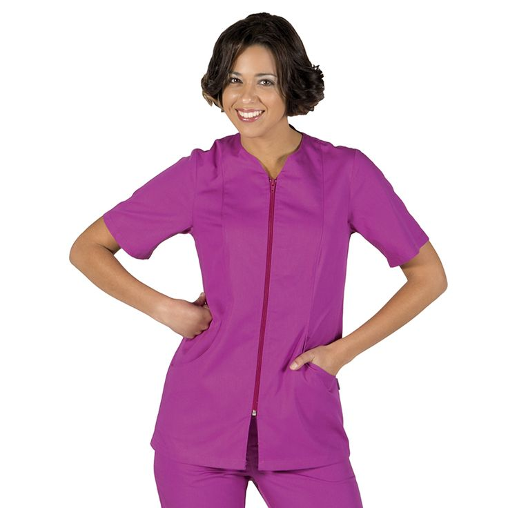 6235 blusa de mujer con cremallera y manga corta en color malva