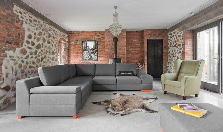 Narożnik Calvados i fotel Camp /Bizzarto; Calvados corner sofa and Camp armchair from Bizzarto