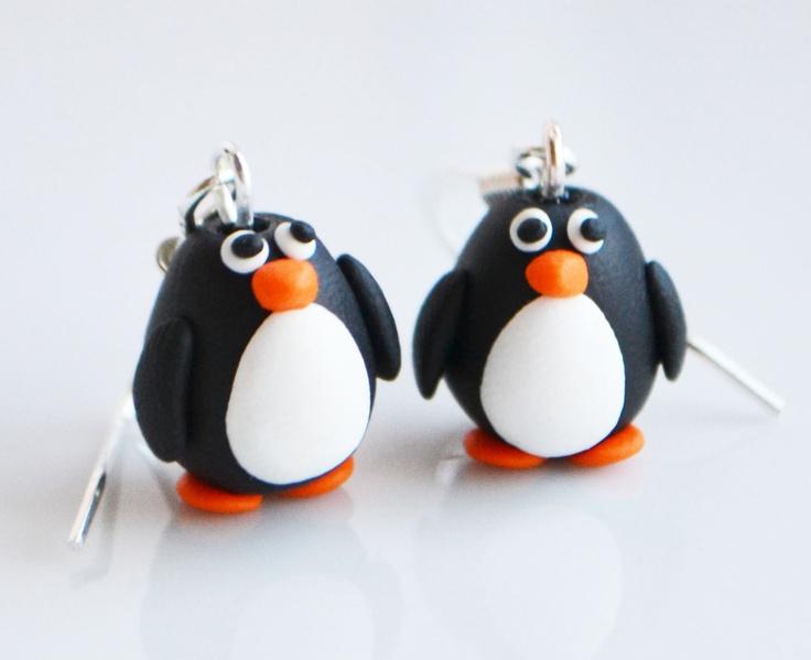 Fimo+Penguin+Earrings+Polymer+clay+by+SweetnNeatJewellery+on+Etsy,+£8.00