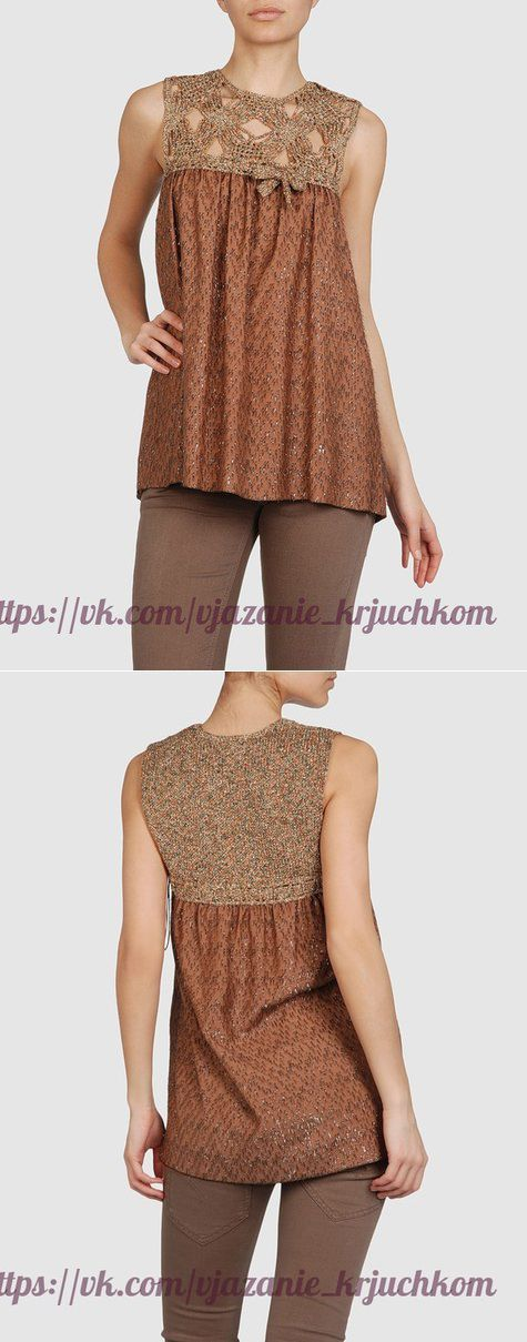 Вязание крючком + ткань. (Идеи из интернета) / Вязание крючком / Женская одежда крючком. Схемы.