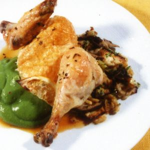 Ditch the brisket in favor of a perfectly moist roast chicken! Serve with a crisp-tender matzo stuffing and a silky cauliflower-spinach puree for a satisfying, but not weighty main course. From Bon Appetit, found at www.edamam.com.