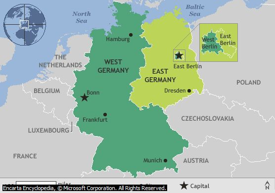 map of east and west germany border Google Search – Divided Germany Map