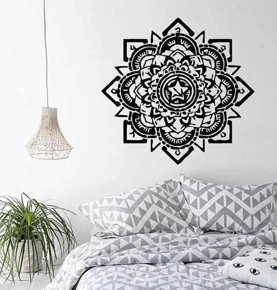 Mandala stickers indien mandala floral pattern amulettes for Decoration murale mandala