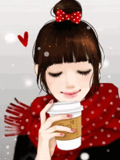 Once in this lifetime... want to experience this.. coffee (choco drink for me) while walking in the snow.... with that happy, peaceful smile :)