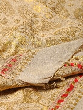 Beige-Red Handwoven Eri-Muga Silk Stole with Zari