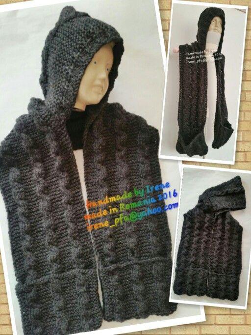 Knitted wool hoodie cape