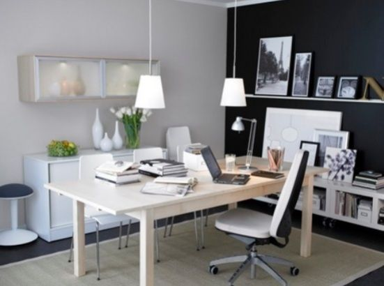 Perfect Office Love The Black Wall Whites And Natural Wood