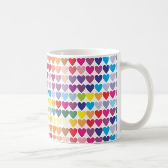 Colorful love hearts, pretty girly coffee mug #pretty #coffeemugs