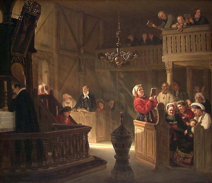 Gudstjeneste i en norsk landskirke Adolph Tidemand 1845