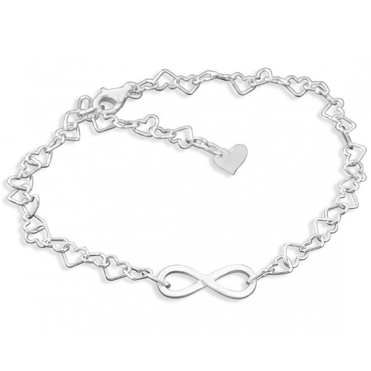 Ein wunderschönes Armband mit Herzgliedern aus 925 Sterling Silber. In das Armband wurde ein schönes Unendlichkeitszeichen aus 925 Sterling Silber eingefasst. Die Armbandlänge kann dank der Herzglieder ganz einfach angepasst passt werden.