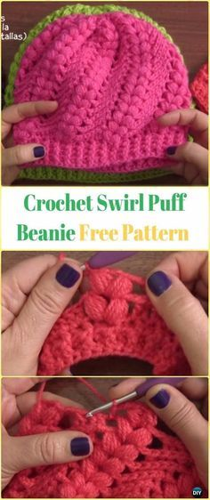 Crochet Swirl Puff Beanie Video - Crochet Beanie Hat Free Patterns