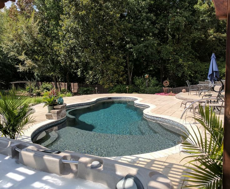 """Trilogy Fiberglass Pool """"Axiom"""" Model in Mystic Lake finish Constructed by GT Custom Pools, a devision of Johnson Pools and Spas, Huntsville"""