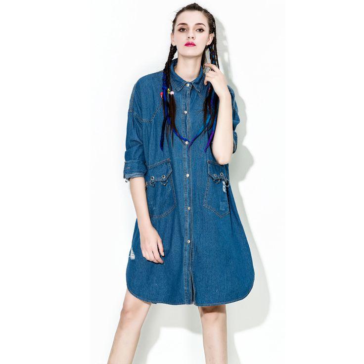 [XITAO] Spring 2017 Europe fashion female oversize jean blouses Street wide women turn down collar loose denim shirts HW002 #Affiliate